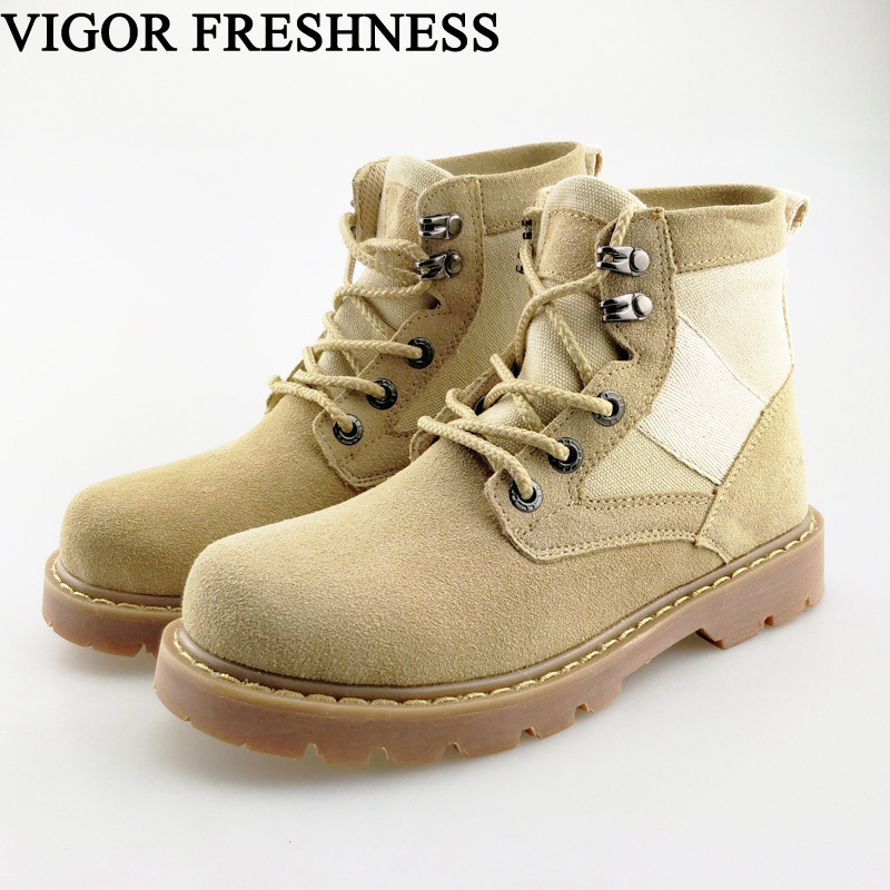 VIGOR FRESHNESS Shoes Women Boots Ankle Work Boots Woman Genuine Leather Shoes Cow Suede Boots Short Military Shoes Unisex S47VIGOR FRESHNESS Shoes Women Boots Ankle Work Boots Woman Genuine Leather Shoes Cow Suede Boots Short Military Shoes Unisex S47