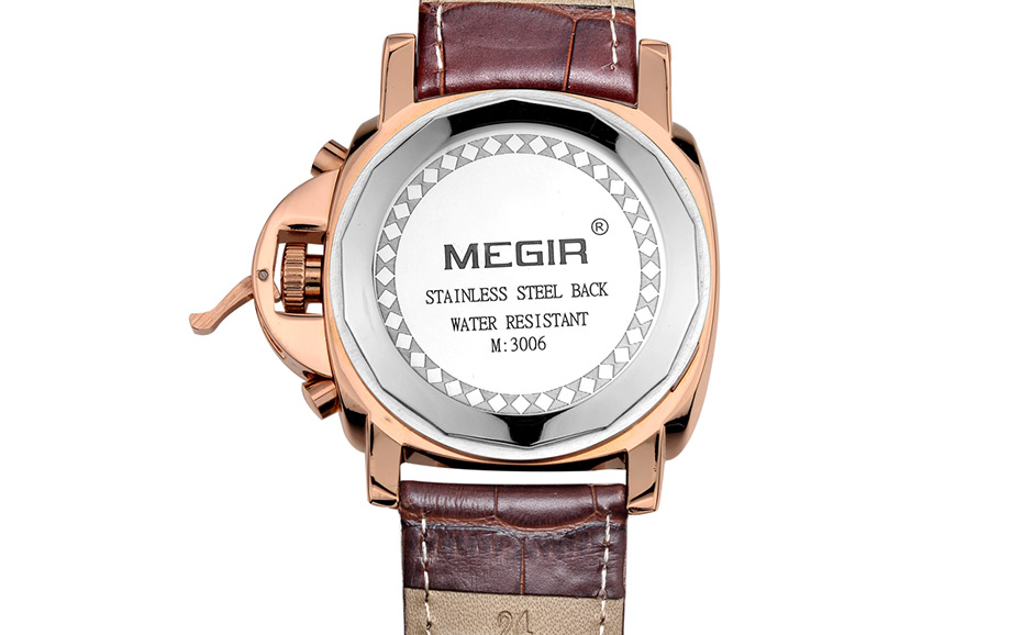Megir 3006 mens fashion quartz watch waterproof wristwatch genuine leather strap watches man free shipping