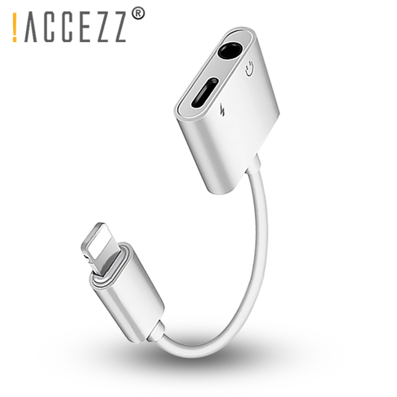 !ACCEZZ 2 In 1 Charging Listening Adapter For Iphone XS MAX XR 3.5mm Jack AUX Splitter For IOS Iphone X 8 7 Plus Charge Adapter