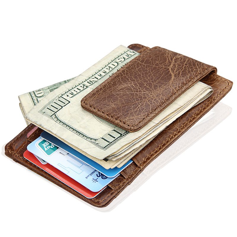 3PCS/Lot Wholesale Genuine Leather Men Fashion Thin Magnetic Money Clip Vintage Travel Wallets Business Card Case Coin Pocket ...