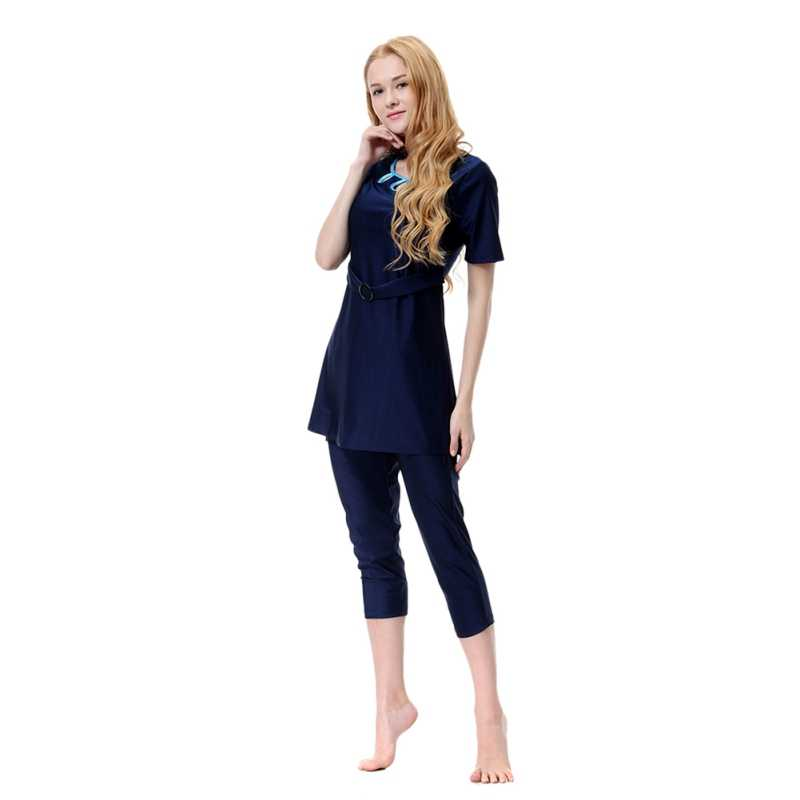 2a0508099022b Muslim Sets Islam Burkinis Wear Bathing Suit Women Loose Hollow Out O-Neck Swimsuit  Short