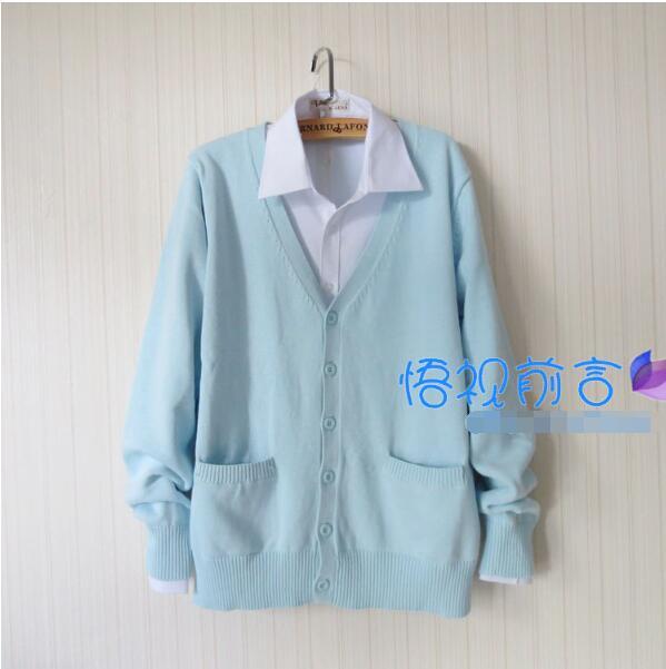 Fashion Autumn and Winter Japanese School Uniform Harajuku Preppy Style JK School Uniform Blue Cardigan Sweater Coat Women Suit