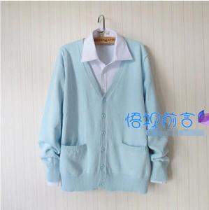 Image 2 - 패션 가을 겨울 일본 학교 유니폼 하라주쿠 preppy 스타일 jk 학교 유니폼 블루 카디건 스웨터 코트 여성 정장