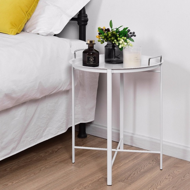 Giantex Metal Tray Table Round End Sofa Side Living Room Bedroom White Home Furniture