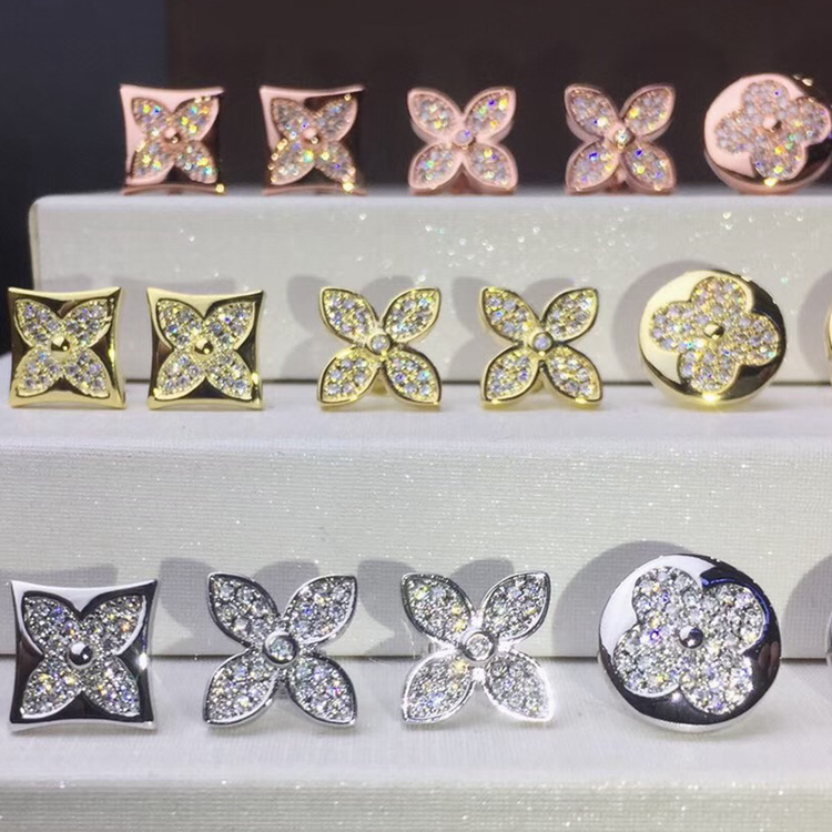 High-end luxury brand jewelry Four-leaf flower square round Zircon gold earrings necklace jewelry set wedding jewelry цена