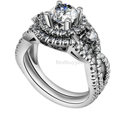 1 Carat 4 Prongs 925 Sterling Silver Ring Inlaid Stone Cluster Ring Inlaid Jewelry Personalized US