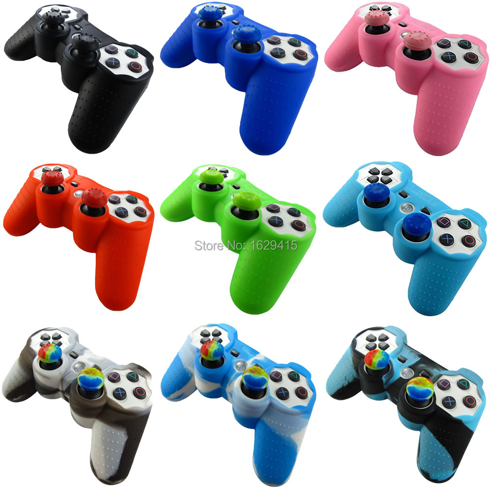 IVYUEEN 2 In 1 Silicone Gel Rubber Skin Case + 2x Thumb Sticks Grips Cap Cover For Sony PlayStation Dualshock 3 PS3 Controller