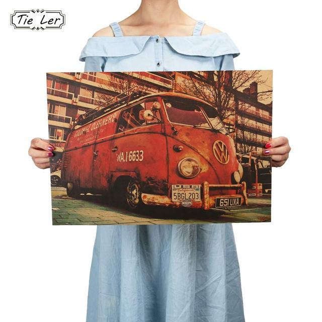 TIE LER Vintage Signs Bus Retro Painting Car Bar Antique Wall Decoration Poster Wall Sticker