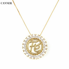 Canner Flower Cubic Zirconia Pendant Necklaces Circle Long Chain CZ Necklace Womens Fashion Jewelry