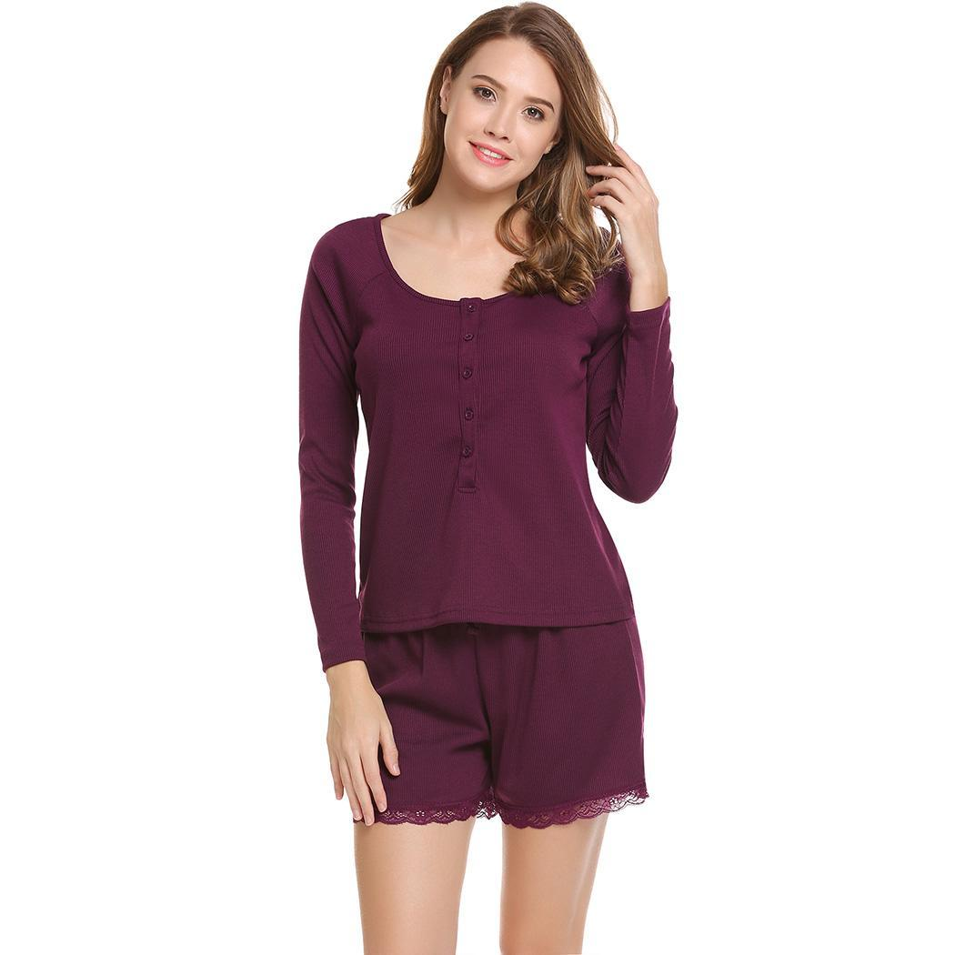 Casual pajama sets women sleepwear o-neck long sleeve solid tops and elastic and lace up waist shorts  nightwear suit