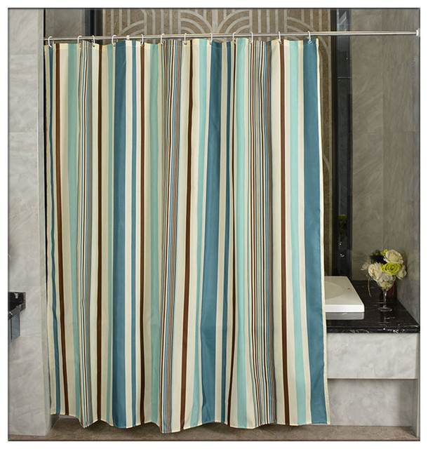 New Striped Waterproof Shower Curtain Polyester Material Eco Friendly Bathroom Curtains