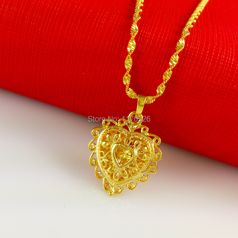 Promotion 24k Gold Necklace Women Clic Heart Shaped Pendant Br Plated High Simulation Of 24 Karat Wedding Jewelry In Chain Necklaces From