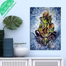 дешево!  1 Шт. Абстракция Ганеш Масляной Краской HD Печатные Холст Wall Art Плакаты и Принты Плакат