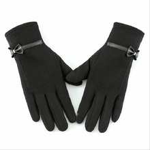 bowknot gloves women winter touch screen new pattern cashmere warm trendy pure color