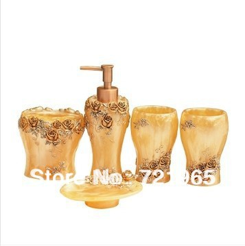 Toothbrush holder soap dispens emulsion bottle bathroom for Gold bathroom accessories sets