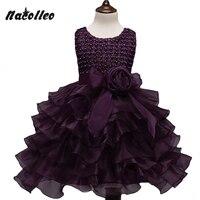 Girl Lace Princess Purple Gown Tutu Dress Sleeveless Beading Children Prom Party Design First Communion Dresses
