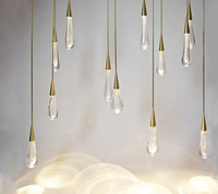 T Gold Water Drop Crystal Creative Pendant Light European Style Luxury LED Lamps Moderm Glass Indoor