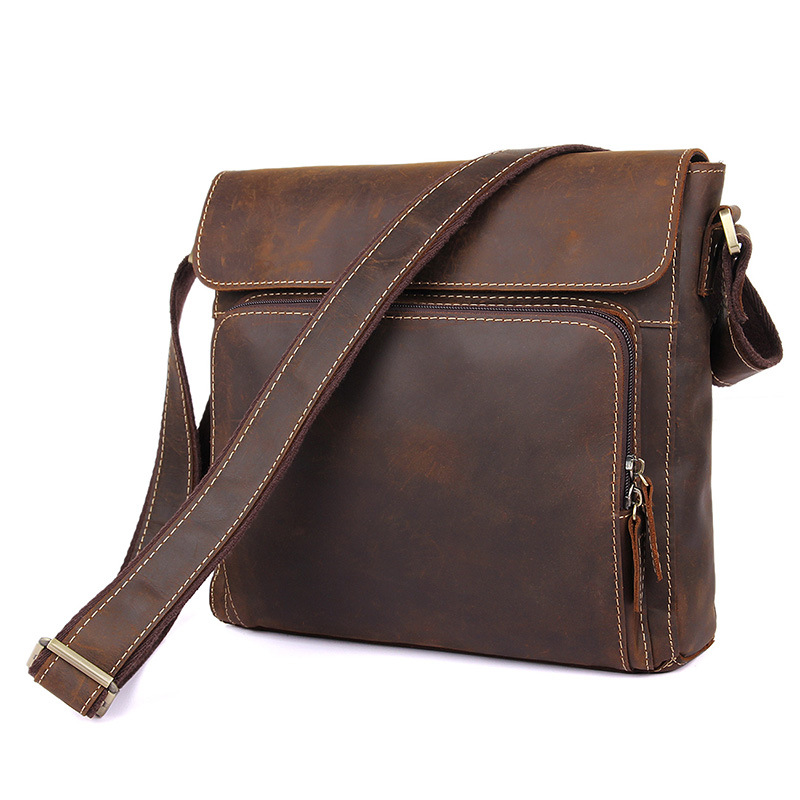 Nesitu High Quality Vintage Dark Brown Genuine Leather Men Bag Crazy Horse Leather Small Men Messenger Bags Shoulder Bag #M7051 nesitu high quality vintage dark brown genuine leather men bag crazy horse leather small men messenger bags shoulder bag m7051