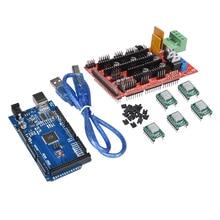 3D-принтеры Запчасти Мега 2560 R3 + пандусы 1,4 контроллер + 5 шт. A4988 Драйвер шагового двигателя Модуль RAMPS 1,4 комплект для Arduino DIY Impressora 3d