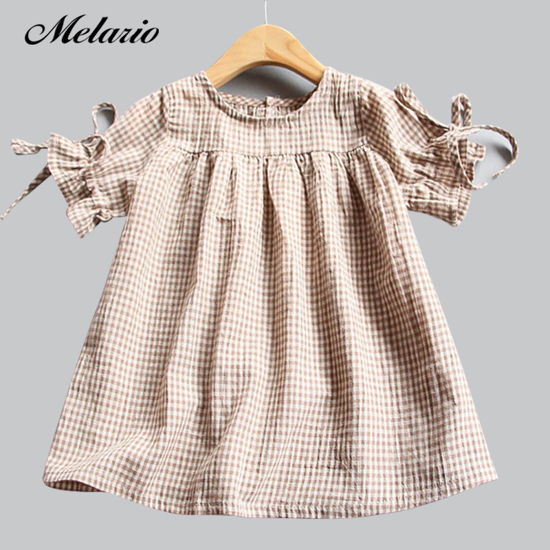 Melario Girls dress Summer 2018 New Casual Style Fashion lattice Girls Bow Dress Girl Clothing For Children Cute Dresses3-6Y