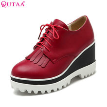 QUTAA leather Ladies Platform