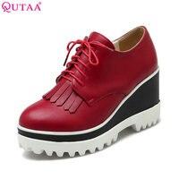 QUTAA 2017 Ladies Summer Shoe Wedge High Heel Platform leather Woman Pumps Lace Up Tassel Ladies Wedding Shoe Size 34 43