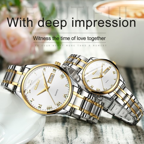 OLEVS 2018 Luxury Brand Lover Watch Women Waterproof Couples Watches Female Wristwatches Quartz Men Stainless Steel Watch 1Pair Multan