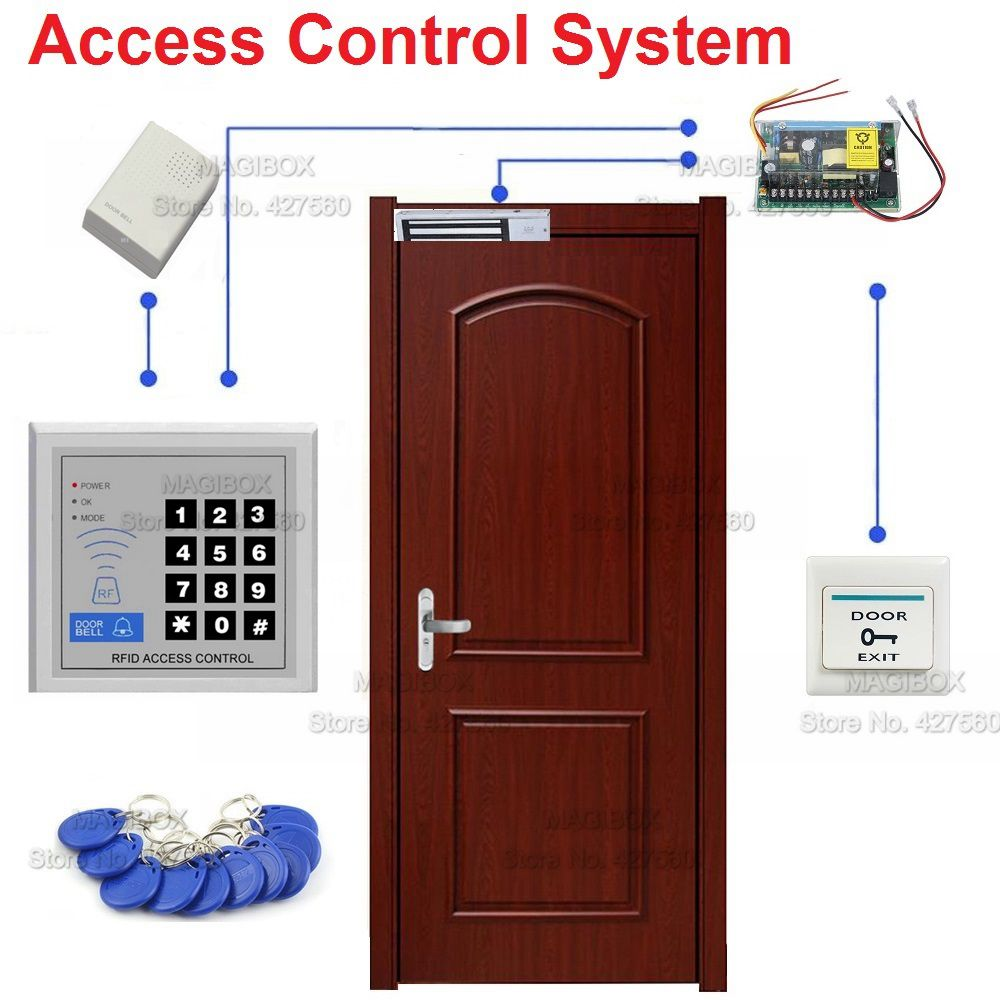 Door Access Control System Set Electric Strike Lock+Power Supply+Wired Door Bell+Switch access control system kit set t22 access control machine electric lock power supply switch door holder 5 id keyfobs