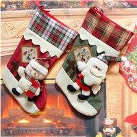 2016 Top Hot Sale Christmas Stocking Xmas Tree Oranment Gift Bag Thick Winter Warm Socks Tracking