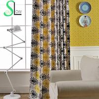 Slow Soul Life Tone Yellow Black Europe Good Quality Curtain Fabric Curtains For Living Room Cortinas