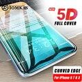 5D de vidrio para iPhone 7 X vidrio templado curvo borde completo cubierta de vidrio templado para iPhone 7 6 6 s X 8 Plus protección de pantalla