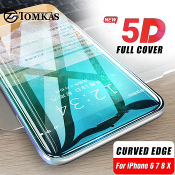 1fa0877f0f8 5D de vidrio para iPhone 7 X vidrio templado curvo borde completo cubierta de  vidrio templado