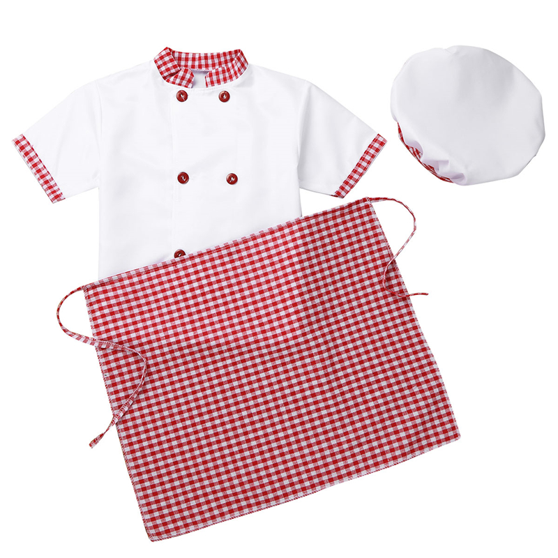 Children Unisex Chef Uniform Kids Boys Girls Chef Jacket with Apron Hat Kitchen Cook Cosplay Party Halloween Costume Set 3