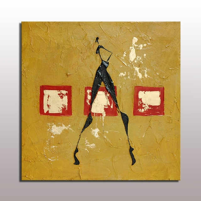 Handmade Abstract Painting Wall Art Yellow Acrylic Textured Human ...