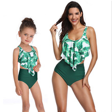 цены на MOM and baby girl Parent-child Swimsuit Two-Piece Suits Mother Daughter Ruffle Swimwear Family Matching Bathing Swimsuit в интернет-магазинах