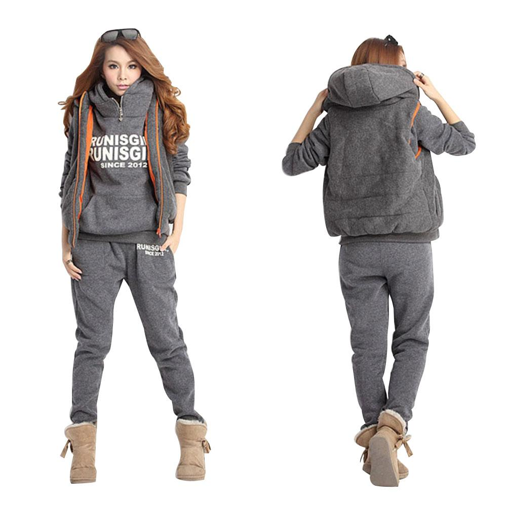 3-Piece Set Women Sportswear Hooded Fleece Thickened Women Femme Casual Hooded Thickening Fleece Warm Sportwear Track Suit