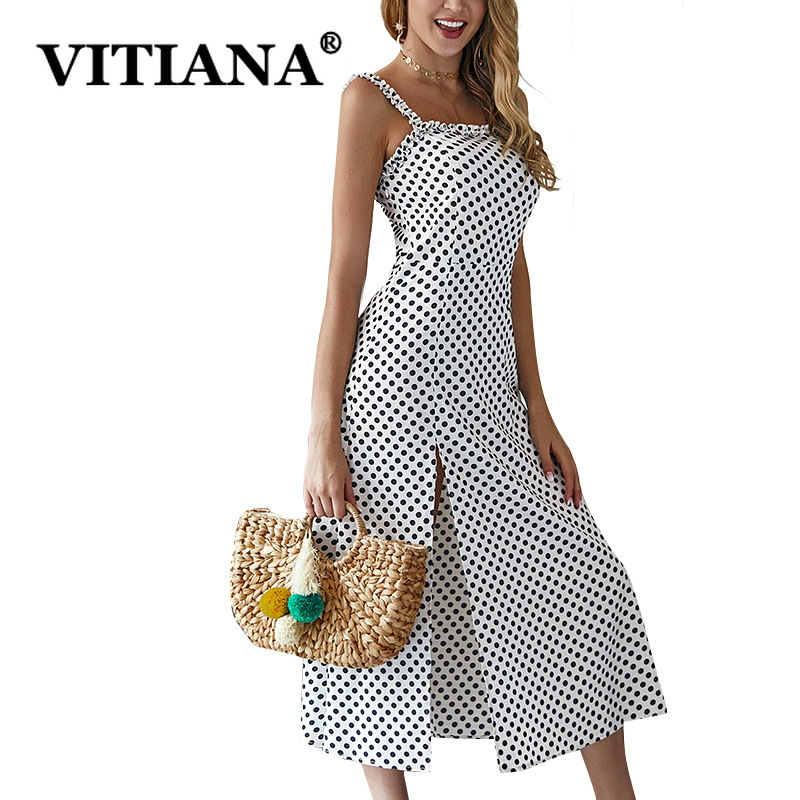 VITIANA Women Sexy Party Dress Summer 2019 Female White Dot Print A-Line Long Beach Slip Dress Ladies Office Work Clothes
