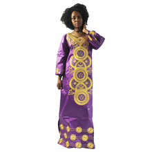 MD embroidery african dresses for women bazin riche cotton long sleeve dress dashiki robe kaftan lady clothes