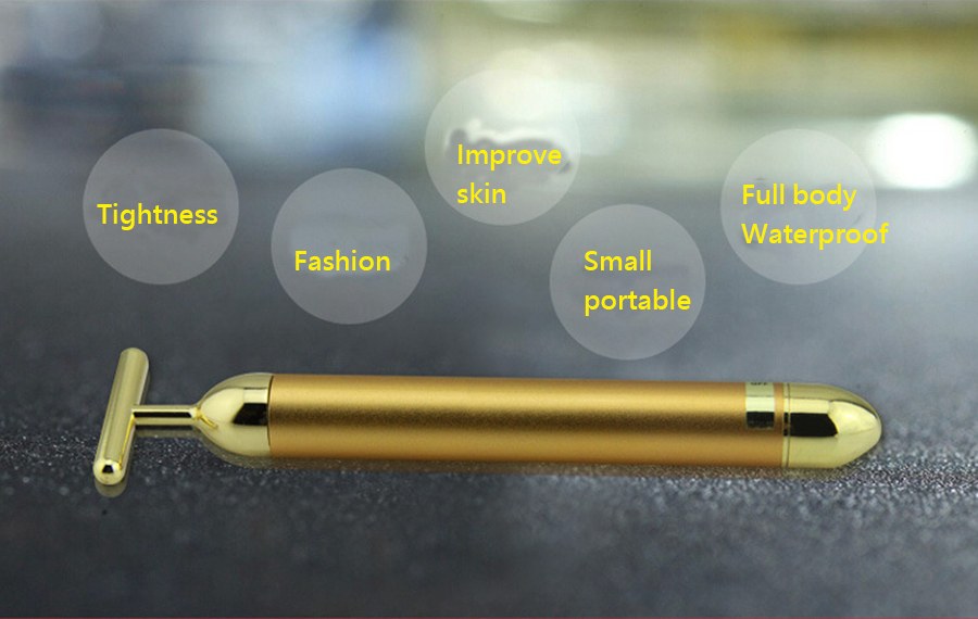 Купить с кэшбэком Slimming Face 24k Gold Vibration Beauty Roller Massager Tightening Face  Lift Skin Skin Care Tool Remove Wrinkle Stick Bar