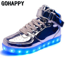 2017 lights up led luminous shoes high top glowing casual shoes with new simulation sole charge