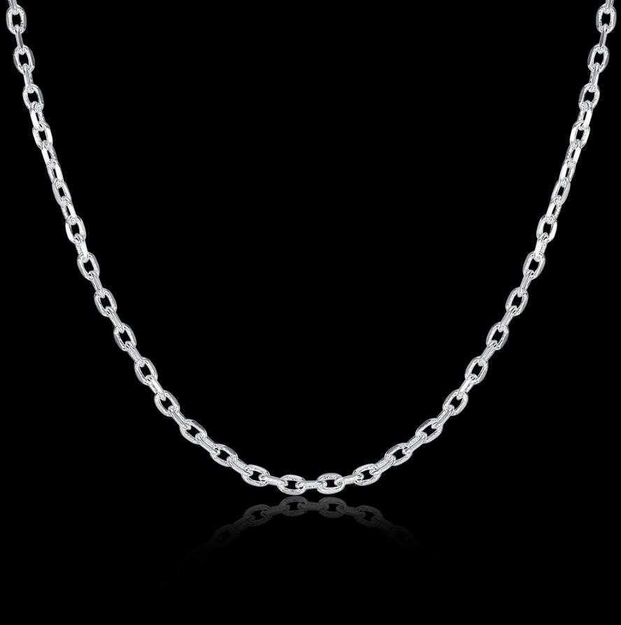 """Lekani jóias finas da mulher 925 prata esterlina plana rolo corrente colar charme 2mm ampla colar de prata 16 """"18"""" 20 """"22"""" 24"""""""