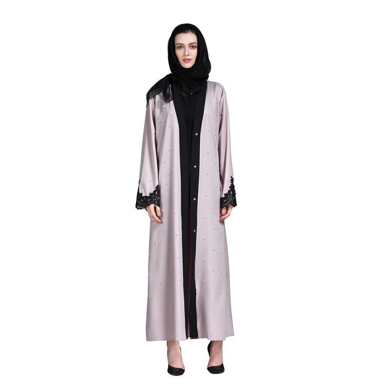 2018 Women Jilbab Muslim Dress Long Sleeve Islamic Dresses for Women Modest Clothing Floral Lace Cardigan Dubai Abaya Dress H7