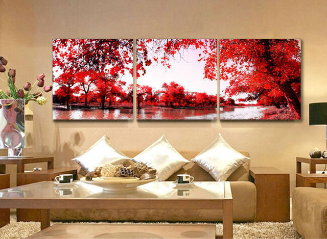 Compre 3 painel vermelho folhas outonais - Telas decorativas para paredes ...