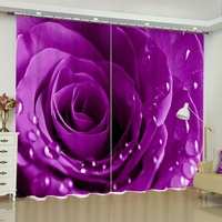 3D Red Blue Yellow Purple Floral Curtains with Roses Window Blackout Darkening Drapes for Living Room Bedroom Home Decoration