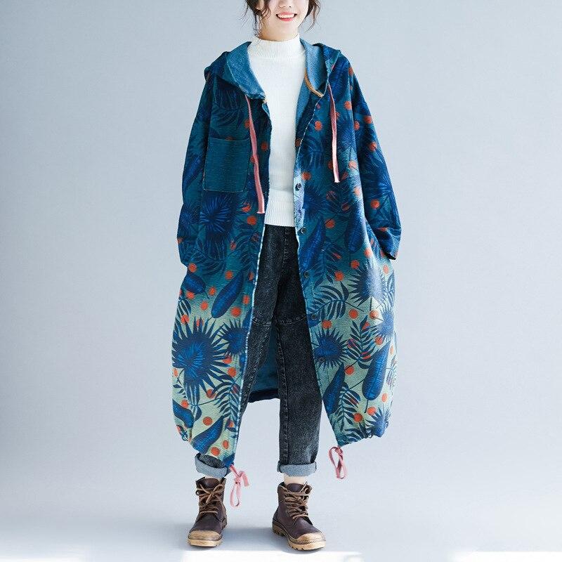 Harajuku Style Fashion Floral print Windbreaker Female Loose Hooded 2018 ethnic national Winter Long   Trench   Coats