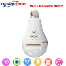 Heanworld hd h.264+ 960P wifi camera two way audio 360VR intelligent bulb support micro sd card 1.3MP security IP camera(China)
