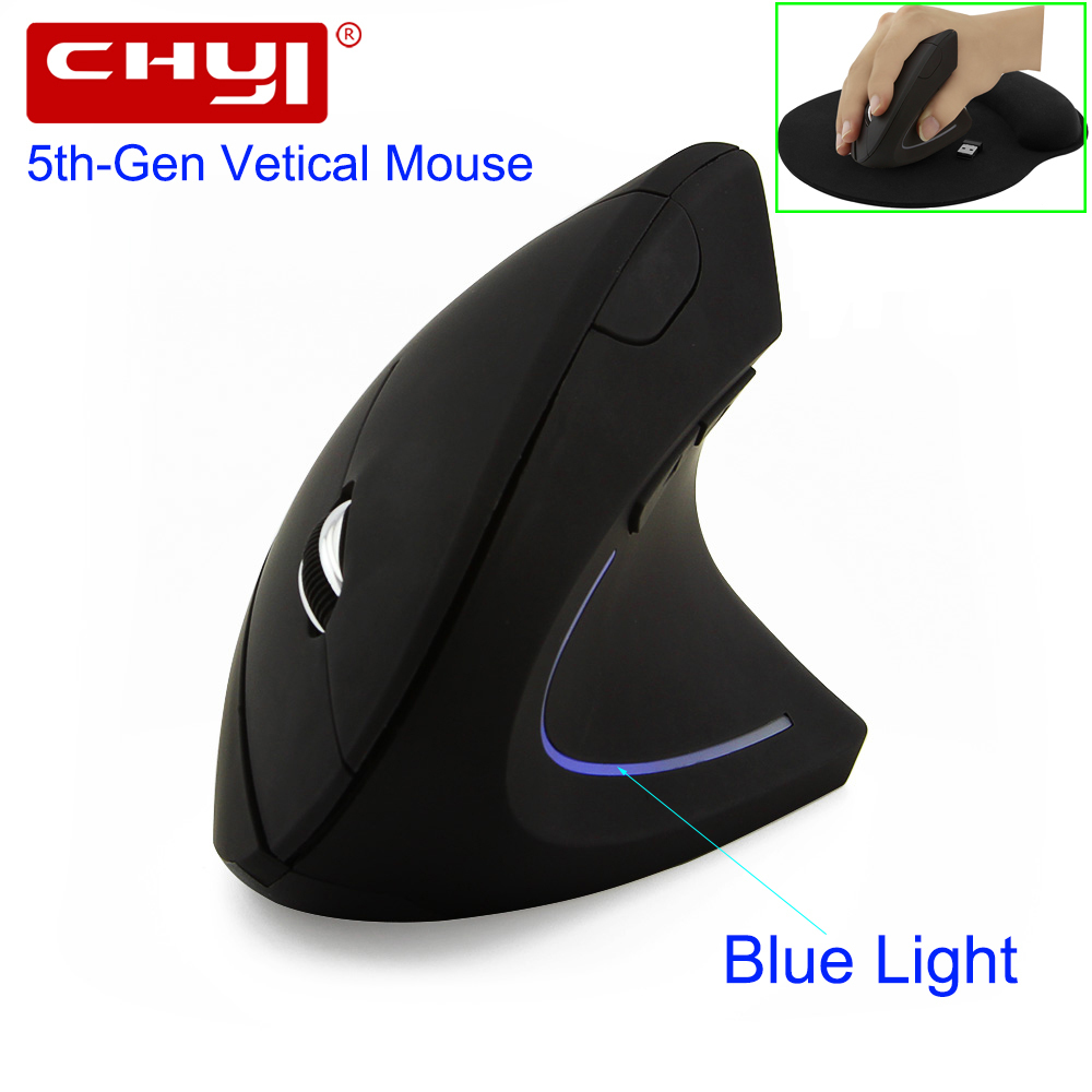 CHYI Wireless Mouse Ergonomico Ottico 2.4G 800/1200/1600 DPI Led Blu Luce Polso Healing Verticale Mouse con il Mouse Pad Kit Per PC
