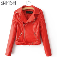 Saimishi Red Pink Women Slim Coat Fashion Turn Down Collar Motorcycle Jacket Autumn Women PU Coat