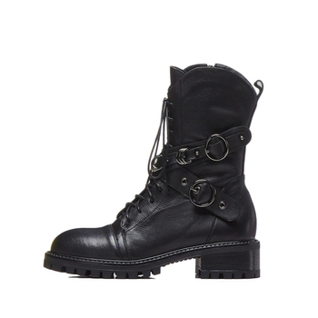 Prova Perfetto High Quality Genuine Leather Ankle Boots For Women Lace Up Platform Boots Fashion Zipper Punk Boots Flat Shoes 1