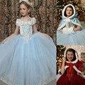 2016 elsa dress para helloween rojo ropa niñas encapuchados niños de la navidad cosplay snow queen princesa ropa vestidos